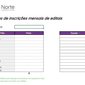 Planilha de Controle de Metas para Editais - Cadastro