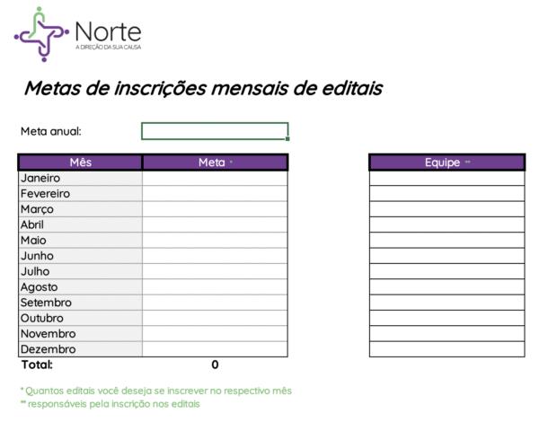 Planilha de Controle de Meta de Inscrição em Editais - Cadastro