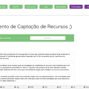 Planilha de Planejamento de Captação de Recursos para ONGS em Excel - Aba Início